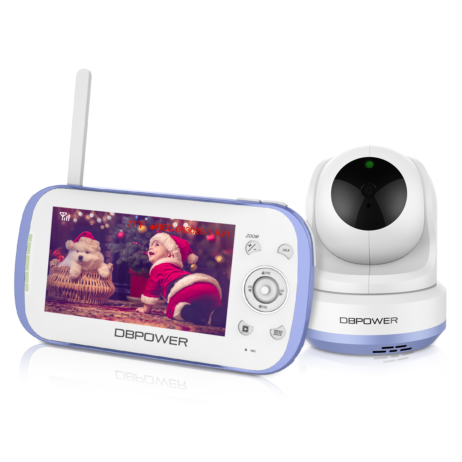 Dbpower Video Baby Monitor 270 Degree Pan Tilt Zoom 4 3